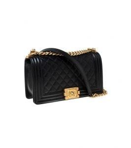 Black Quilted Caviar Leather Medium Boy Flap Bag