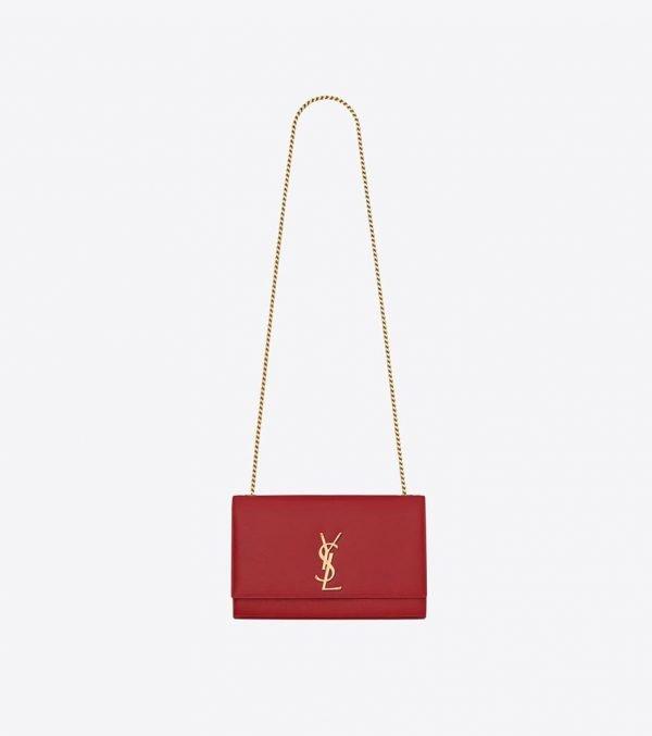 Saint-Laurent-Kate-Medium-In-Grain-De-Poudre-red